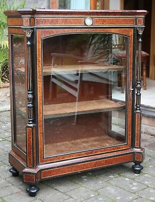 Antique Victorian amboyna & ebony glazed pier cabinet in fine original condition