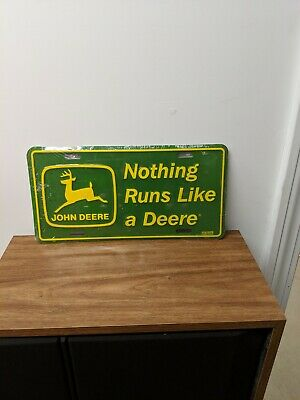 Vintage John Deere Metal Embossed license Plate still in original shrink wrap