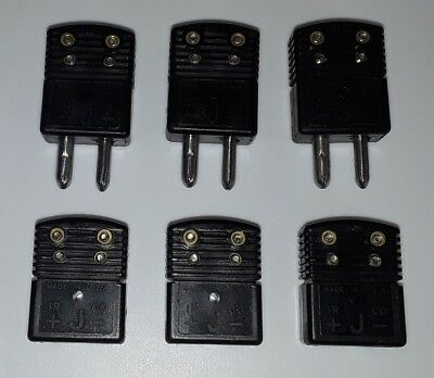6 OMEGA  Standard Size J Calibration Thermocouplers 3 Male / 3 Female