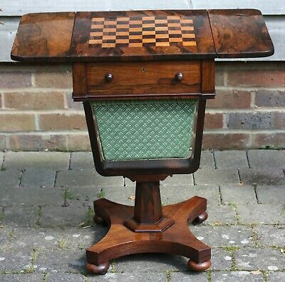 Antique Late Regency / William IV rosewood work table with inlaid chess board