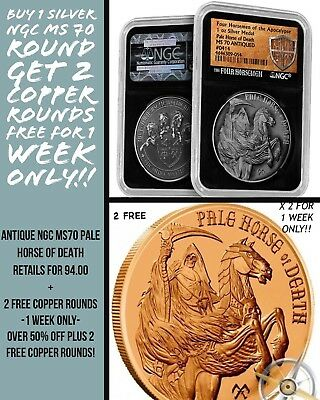 Antiqued Pale Horse of Death Silver Round | NGC MS70 Free Copper