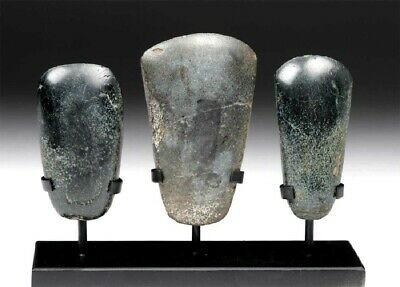 Beautiful Pre-Columbian Jade Celts with a custom stand 2 Olmec and 1 Mayan