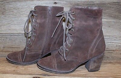 4e1793d6269 WOMENS STEVE MADDEN Gretell Brown/black Leather Zip/lace Up Boots/booties  Sz 7.5