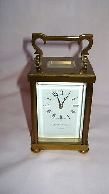 Vintage Matthew Norman Doric Carriage Clock W/presentation Case And Guarantee