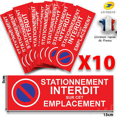 AUTOCOLLANT STATIONNEMENT INTERDIT VOITURE GARAGE PLACE DE PARKING - 15cm x5