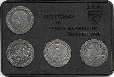 Isle of Man 1989 George Washington Bicentenary Cased Coin Set (4) Uncirculated