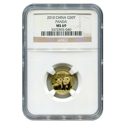 Certified Tenth Ounce Chinese Gold Panda 2010 50 Yuan MS69 NGC