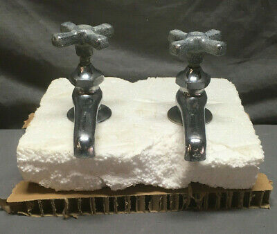 Antique Pair Chrome Brass Separate Hot Cold Sink Faucets Vintage 82-19L