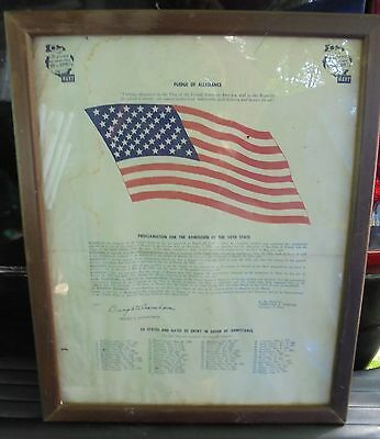 Vintage Rare Proclamation For Admission 50Th State 1959