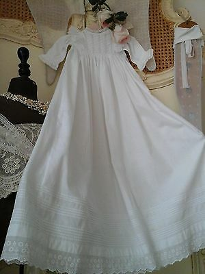 Antique French Baby Christening Gown ~ Hand Lawn Cotton / Broderie Anglais Lace