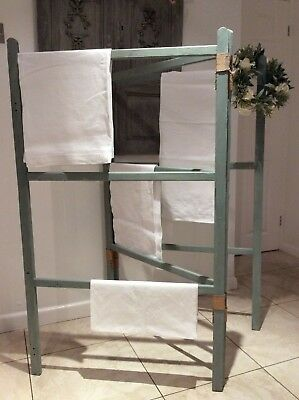 Antique French Victorian Quilt Valet/Display Stand HUGE wooden Towel Rail Airer