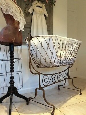 RARE Original Antique French Iron Swinging Crib ~Baby Rocking Cot & Stand ~c19th