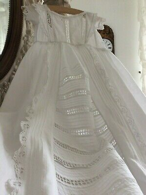Antique French Baby Christening Gown ~Exquisite Broderie Anglaise Lace~Beautiful