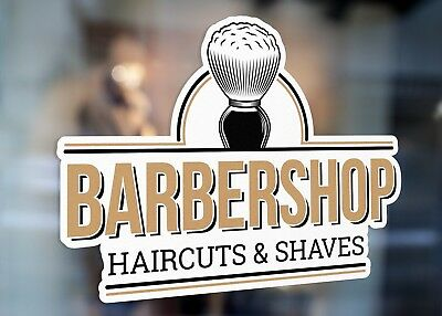 Barbershop Hair Cuts and Shaves Sign Large Self Adhesive Window Shop Sign 3208S