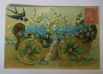 """"""" Birthday, Bird, Flowers, Cart Lily of the Valley """" 1910, Embossed Postcard ("""