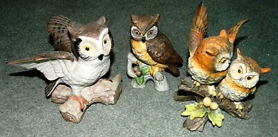 LOT OF 3 VINTAGE Porcelain OWL FIGURINES with 1 HOMCO OWL