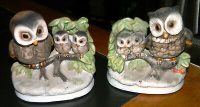 PAIR OF 2 VINTAGE Matching HOMCO Porcelain OWL FIGURINES WITH OWLETS