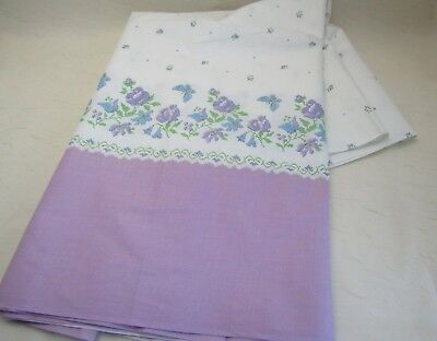 Vintage 36W Cotton Border Fabric for Cross Stitch Lavender Butterfly Floral BTY