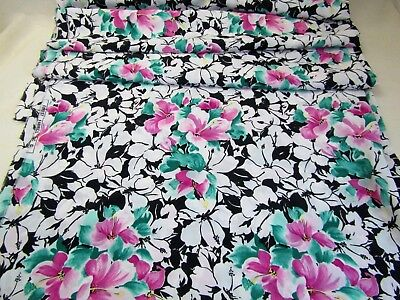 Silky Polyester Challis Forest Fabrics Dress Blouse Large Floral Black shy 3 yds