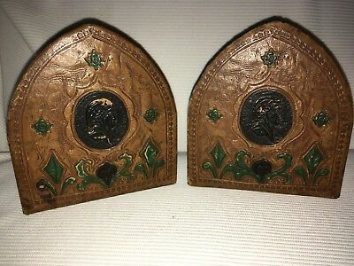 Antique Mission Arts Crafts Tooled Leather  Dante  Bust Deco Nouveau   Bookends