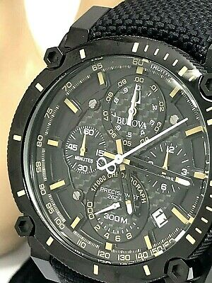 Bulova Precisionist 98B318 Men's Chronograph Black Leather Band Watch DEFECTED
