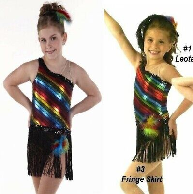 a4f0fbfcd355 Pop Music Dance Costume Leotard and Fringe Skirt Tap New Clearance Child  Sizes