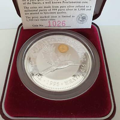 1996 Australian Kookaburra Gold Ducat Privy Mark 2oz Silver Proof Issue