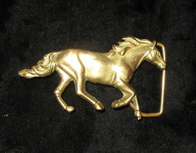 1978 Baron Bar on Buckle Solid Brass Horse Belt  Made in Taiwan