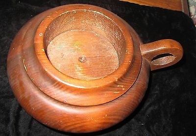 """Wood Cup Kettle Shapped Candle Holder; Hand Carved  Walnut For 3"""" Base Candle"""