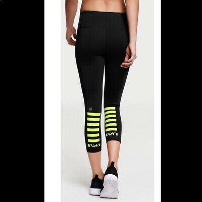 97c35e63cc72 Victoria's Secret Sport VSX Knockout Capri Workout Yoga Pant Black/Neon  Size XS