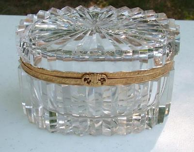 Antique French Cut Crystal Ormolu Large Oval Jewelry Casket Box