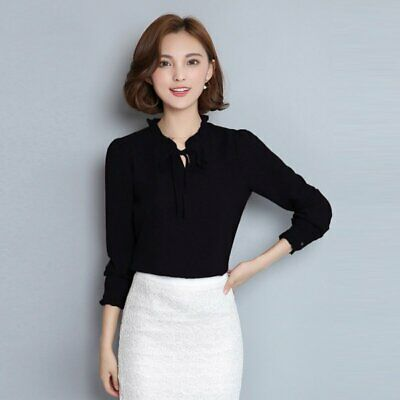 70c36d28 Women Elegant Bow Tie Long Sleeve Chiffon Shirt Tops Blouse OL Work Career  Suit