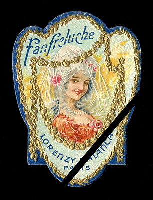 Early 1900's French Perfume Label: Embossed Fanfreluche Lorenzy Palanca Paris