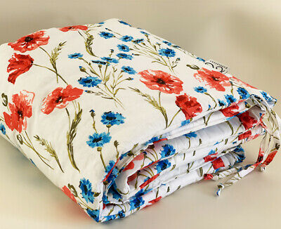 Gooseberry Baby Cot Crib Bumper Cotton Padded Roses 210 x 30 cm