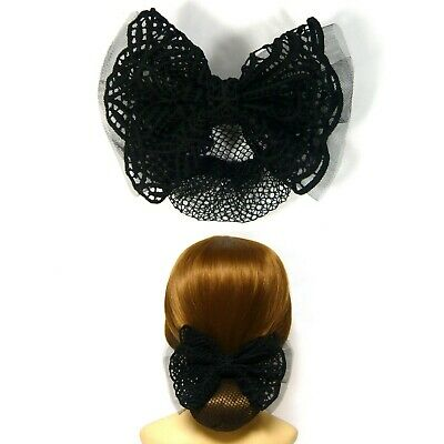 Chic Large Black Lace Ribbon Bow Knot Bun Cover Net Snood Barrette Hair Clip Pin
