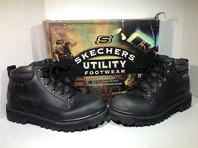55cc02b9ae2e5 Skechers Mens Size 10 Mariners Pilot Black Leather Work Boots Shoes F8-85