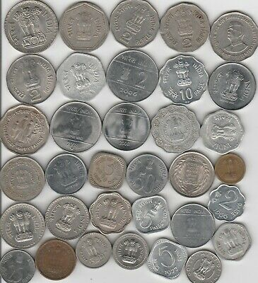 34 different world coins from INDIA