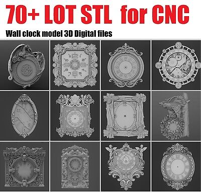 70+ LOT Wall Clock 3D Model STL relief for cnc STL format LOT