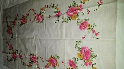 "Gray beige linen printed floral tablecloth 33"" x 57"" vtg"