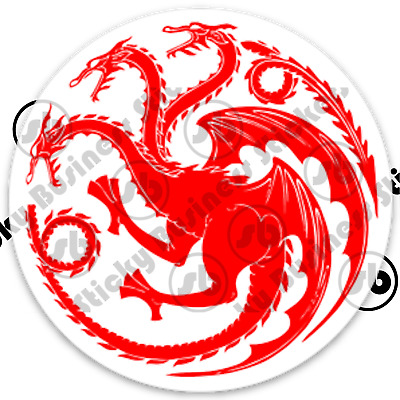 Game of Thrones House Targaryen Three Headed Dragon 3 inch Vinyl Sticker laptop