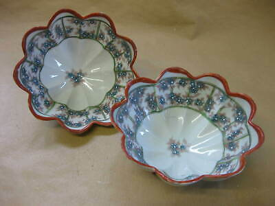 Pair of Vintage Japanese Fine Porcelain Fluted Bowls ~ 3-Footed ~ Hand Painted