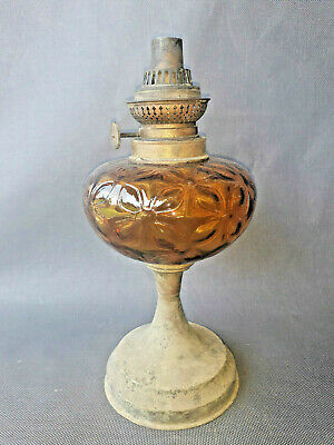 Lamp Oil Antique Marked Hs Brass Deco Kitchen Antique French Lamp