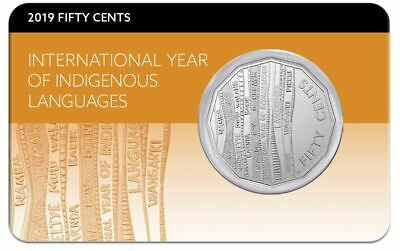 2019 50c INDIGENOUS LANGUAGES YEAR Coin on Card