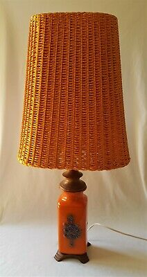 Stunning Vintage C1970's Orange Pottery & Teak Table Lamp With Original Shade