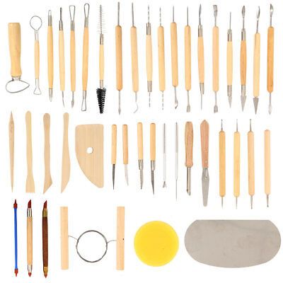42pcs Wood Polymer Pottery Clay Sculpting Carving Tool Craft DIY Set 49