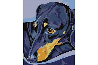 Wizardi Paint By Numbers Kit - Dachshund - includes mini easel