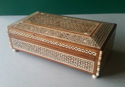 Antique Premium Quality Orient Syrian Handmade Mosaic Inlay Wood Jewelry box