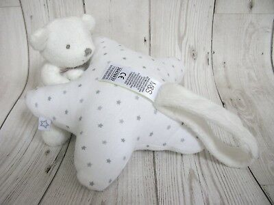 MARKS AND SPENCER Soft Toy Comforter Baby Soother Bear STAR PRINT Grey White