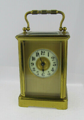 Late 19th C Brass Cased Gothic Chapter Ring Carriage Clock, GWO