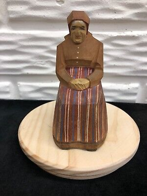 "Vintage Brienz Hand Carved 4""Wooden Seated Woman in Kerchief Made in Switzerland"